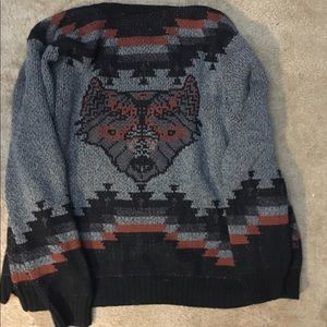 Urban outfitters aztec wolf cardigan